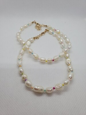 Fresh water pearl multi color anklet