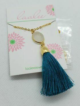 Gold Tassel Necklace-White Druzy/Teal Tassel