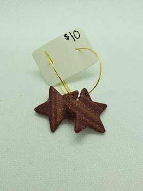 Maroon Star Statements-Clay Earrings