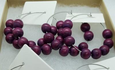 Plum Wood Bead Earrings