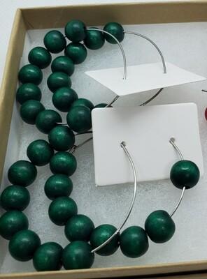 Emerald Green Wood Bead Earrings