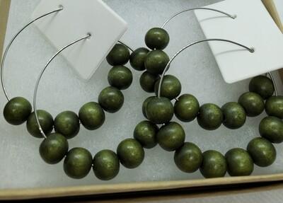 Army Green Wood Bead Earrings