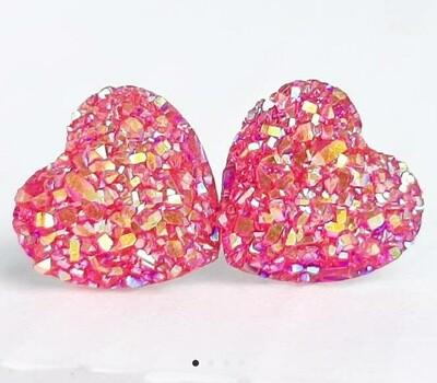 Hot pink druzy heart earrings