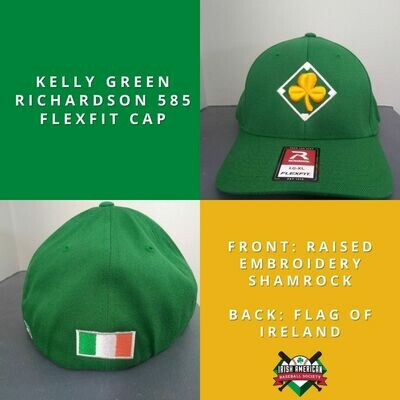 Kelly Green Irish Baseball Cap with Shamrock Embroidery and Flag of Ireland