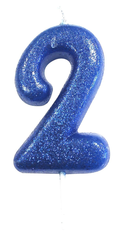 By AH -Candles -GLITTER BLUE '2' -Κεράκι Μπλε Γκλίτερ αριθμός '2'