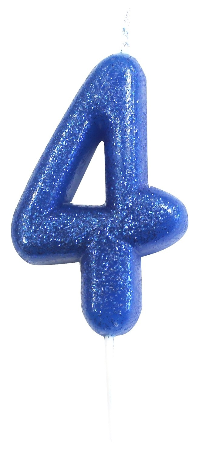 By AH -Candles -GLITTER BLUE '4' -Κεράκι Μπλε Γκλίτερ αριθμός '4'