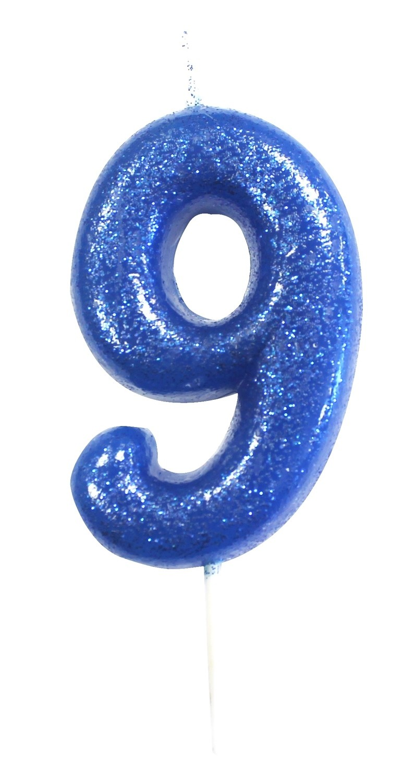 By AH -Candles -GLITTER BLUE '9' -Κεράκι Μπλε Γκλίτερ αριθμός '9'
