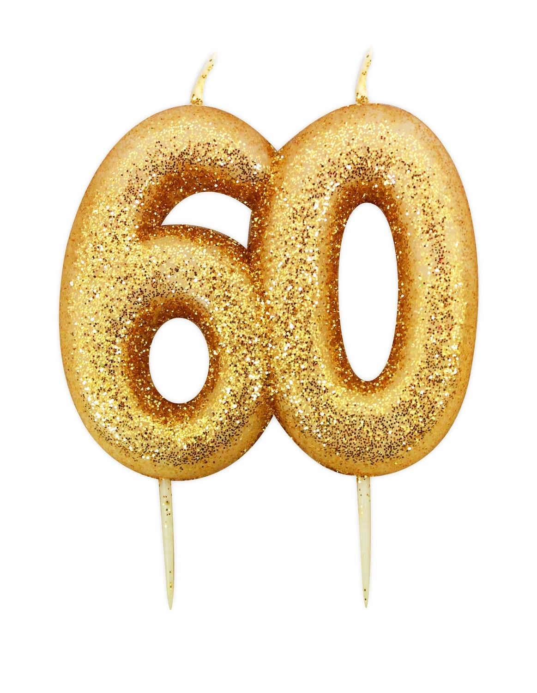 SALE!!! By AH -Candles -GLITTER NUMERAL -GOLD '60' -Κεράκι Χρυσό Γκλίτερ αριθμός '60'