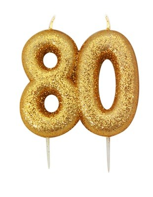 SALE!!! By AH -Candles -GLITTER NUMERAL -GOLD '80' -Κεράκι Χρυσό Γκλίτερ αριθμός '80'