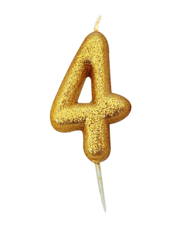By AH -Candles -GLITTER GOLD '4' -Κεράκι Χρυσό Γκλίτερ αριθμός '4'