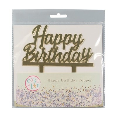 Cake Star Topper -MIRRORED GOLD 'Happy Birthday' -Τόπερ Τούρτας Χρυσό