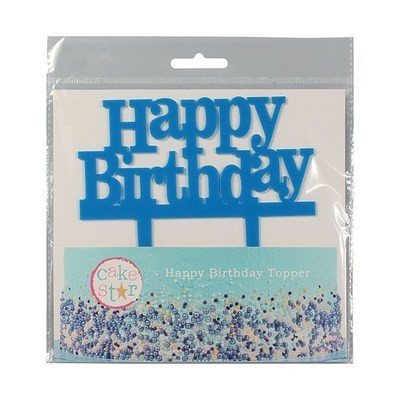 Cake Star Topper -'Happy Birthday' -BLUE -Τόπερ Τούρτας Μπλε