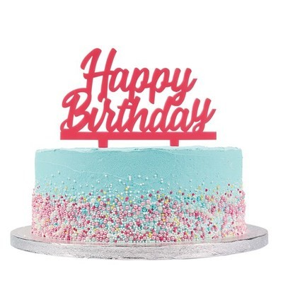 Cake Star Topper -'Happy Birthday' -PINK -Τόπερ Τούρτας Ροζ