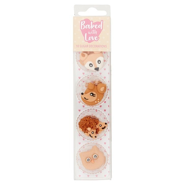 Baked With Love Sugar Pipings -WOODLAND ANIMALS  -Βρώσιμα Ζαχαρωτά  Ζώα του δάσους 10τεμ.