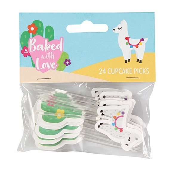 Baked With Love Cupcake Toppers -LLAMA -Τόπερ Λάμα -24τεμ ∞