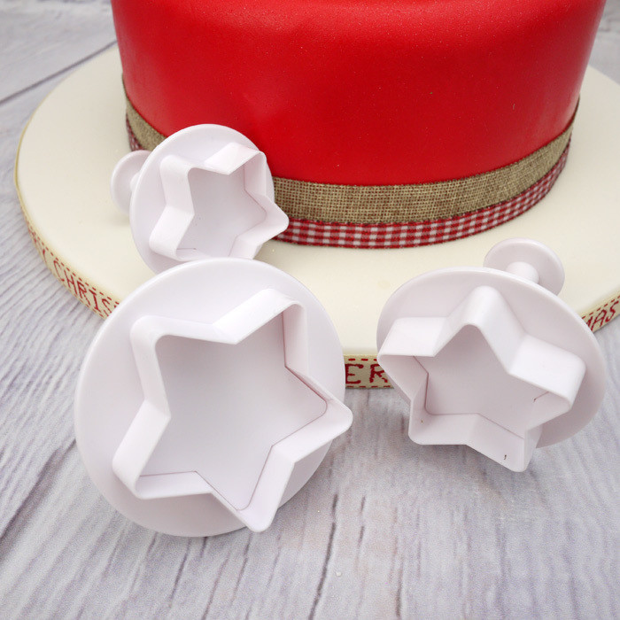 Cake Star Plunger Cutters -STARS -LARGE - Σετ 3 τεμ κουπ πατ Αστέρια Μεγάλα με εκβολέα