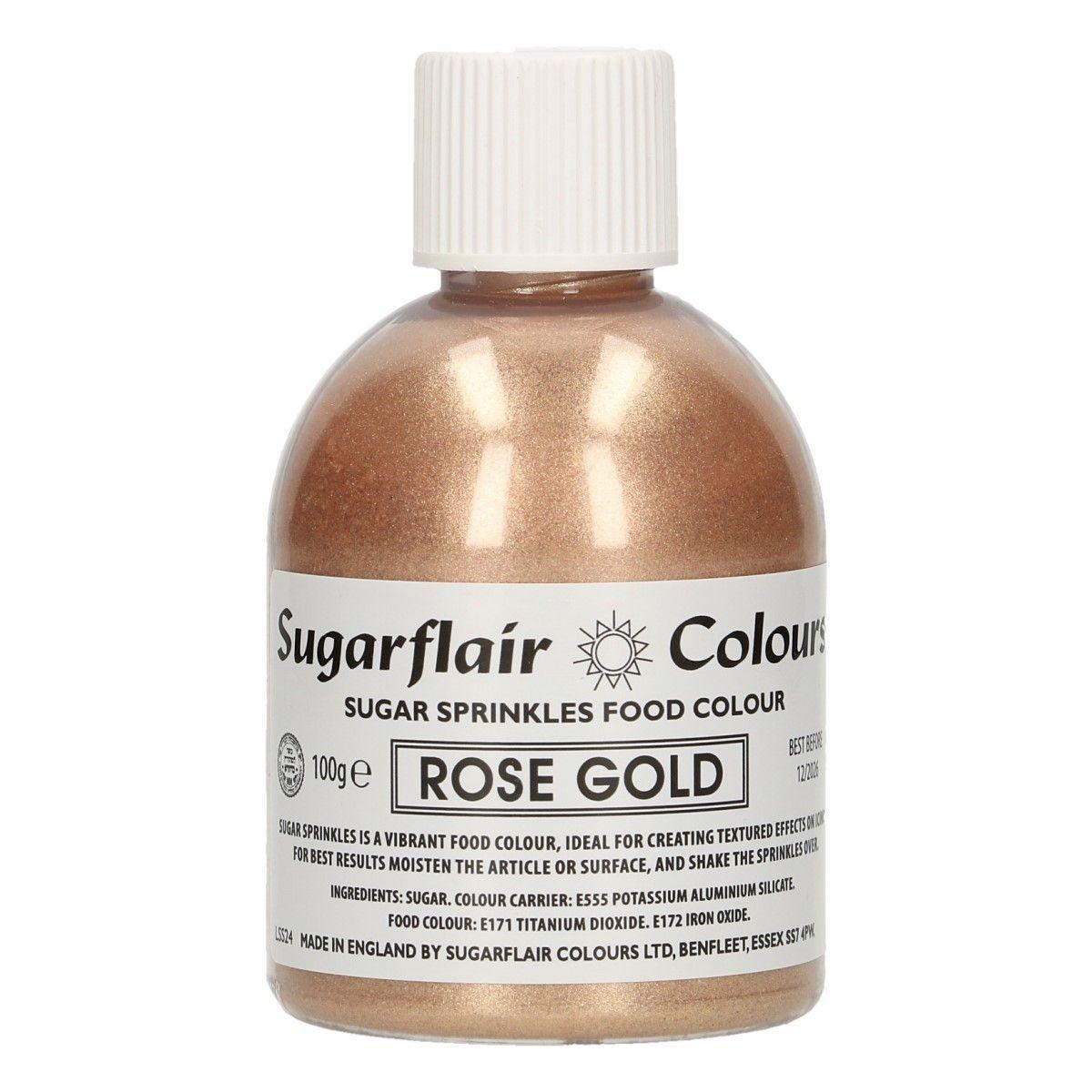 Sugarflair -Sparkling Sugar Sprinkles -ROSE GOLD 100g - Χρωματιστή Ζάχαρη - Ροζ Χρυσό