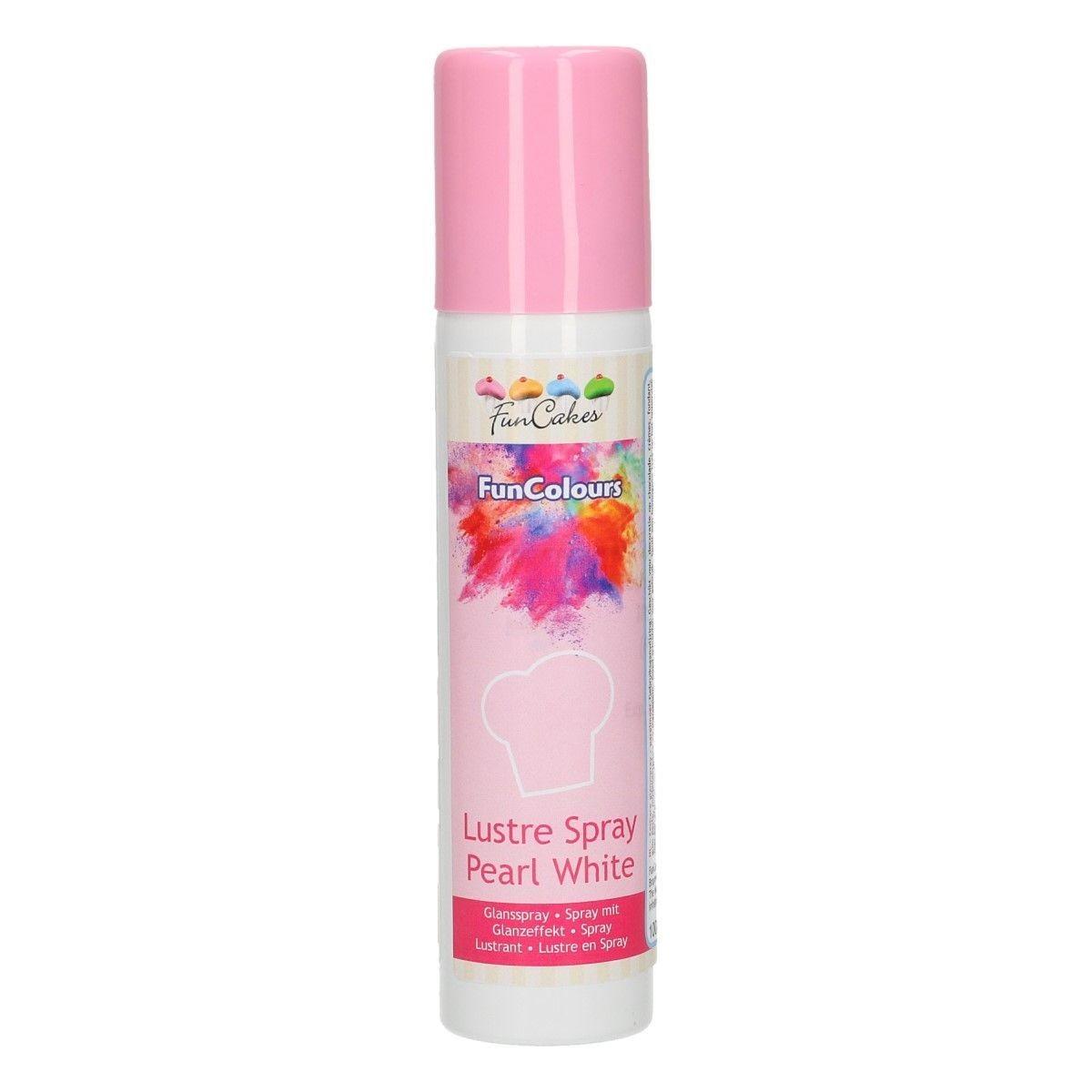 FunCakes Edible Spray -METALLIC PEARL WHITE 100ml - Σπρέι Μεταλλικό Λευκό Περλέ