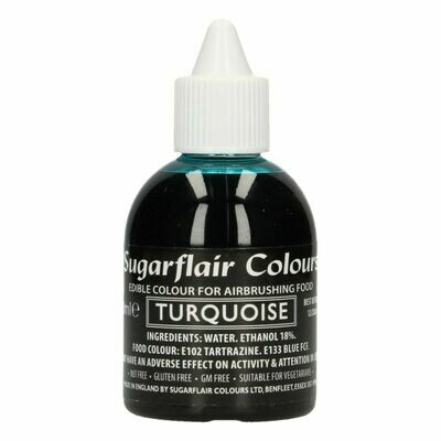 Sugarflair Airbrush Colour -MATT TURQUOISE -Χρώμα Αερογράφου Ματ Τυρκουάζ 60ml
