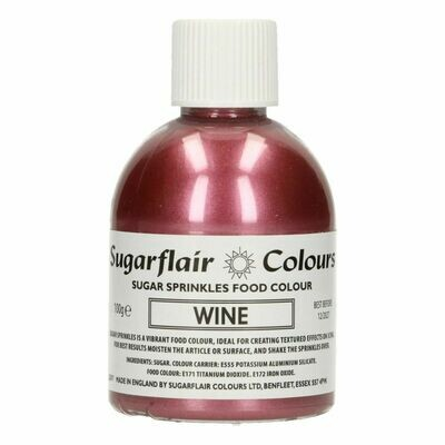 Sugarflair -Sparkling Sugar Sprinkles -WINE 100g - Χρωματιστή Ζάχαρη - Χρώμα Κόκκινου Κρασιού