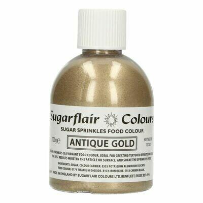 Sugarflair -Sparkling Sugar Sprinkles -ANTIQUE GOLD 100g - Χρωματιστή Ζάχαρη - Χρυσό Αντικέ