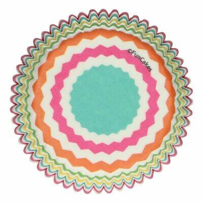 SALE!!! FunCakes Cupcake Cases -COLOURFUL CHEVRON -Θήκες Ψησίματος 48 τεμ