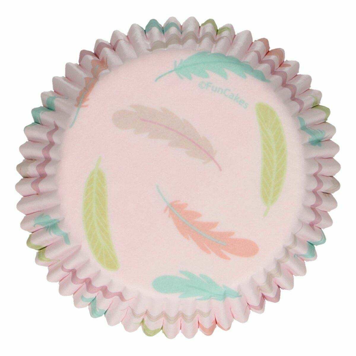 FunCakes Cupcake Cases -PASTEL FEATHERS -Θήκες Ψησίματος Παστέλ Φτερά 48 τεμ
