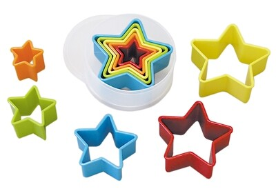 By AH -Set of Plastic Cookie Cutters -STARS - Σετ 5 τεμ πλαστικά κουπ πατ Αστέρια