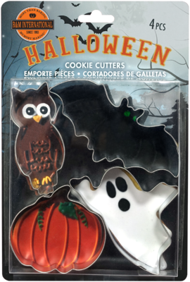 By AH -Set of 4 Cookie Cutters -SPOOKY HALLOWEEN -Σετ 4 Κουπ πατ με θέμα το Χαλογουίν