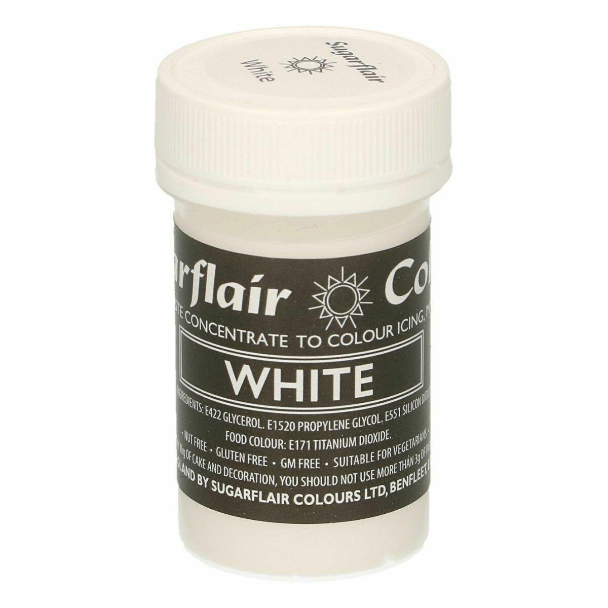 Sugarflair Paste Colours -PASTEL WHITE -Χρώμα σε Πάστα -Άσπρο