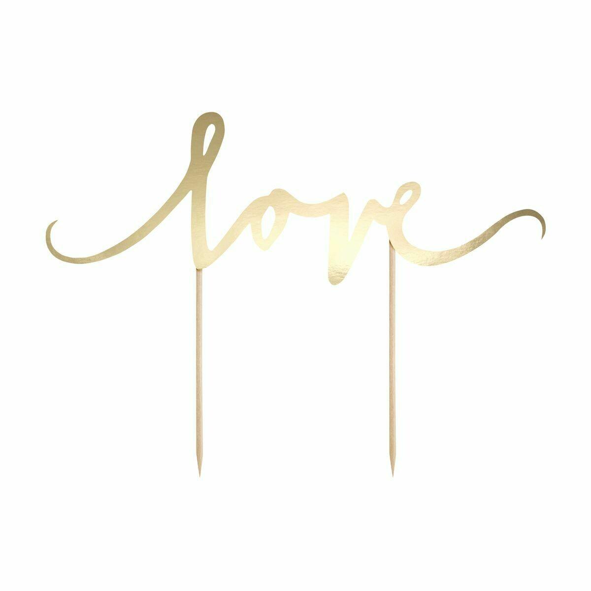 PartyDeco Cake Topper 'Love' - GOLD -Τόπερ Τούρτας Χρυσό 'Love'