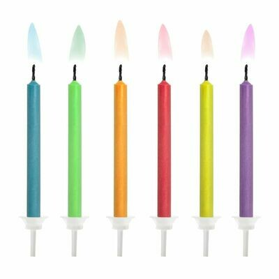 PartyDeco Birthday Candles -COLOURED FLAMES 6 τεμ. - Κεράκια Με χρωματιστή φλόγα