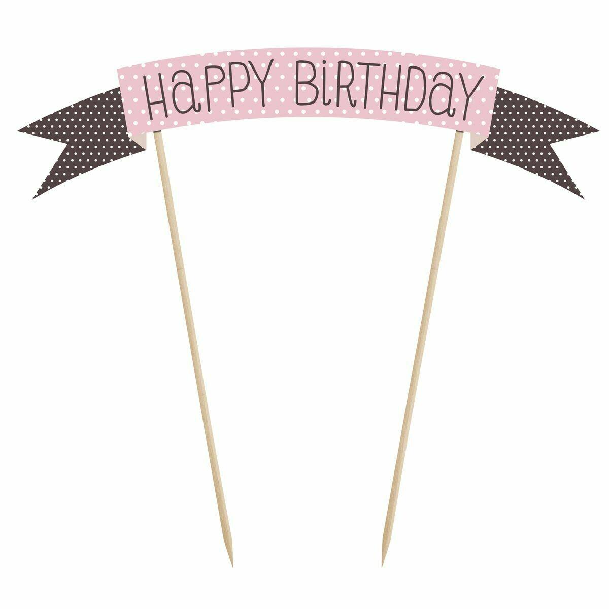 PartyDeco Cake Topper -Sweets -'Happy Birthday' -PINK & BLACK SPOTS Τόπερ Τούρτας 'Happy Birthday'