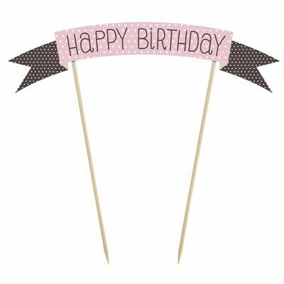 PartyDeco Cake Topper -Sweets -'Happy Birthday' -PINK & BLACK SPOTS Τόπερ Τούρτας 'Happy Birthday'