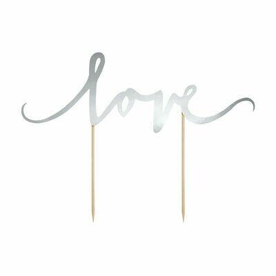 PartyDeco Cake Topper 'Love' - SILVER -Τόπερ Τούρτας Ασημί 'Love'