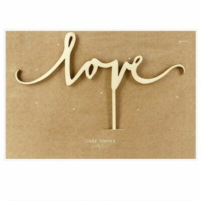 PartyDeco Cake Topper 'Love' - WOODEN -Τόπερ Τούρτας Ξύλινο 'Love'