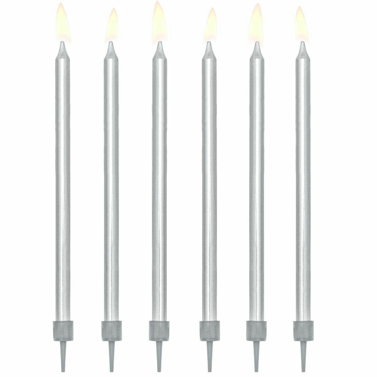 PartyDeco Birthday Candles -12εκ PLAIN SILVER 12 τεμ - Ασημί κεράκια 12εκ