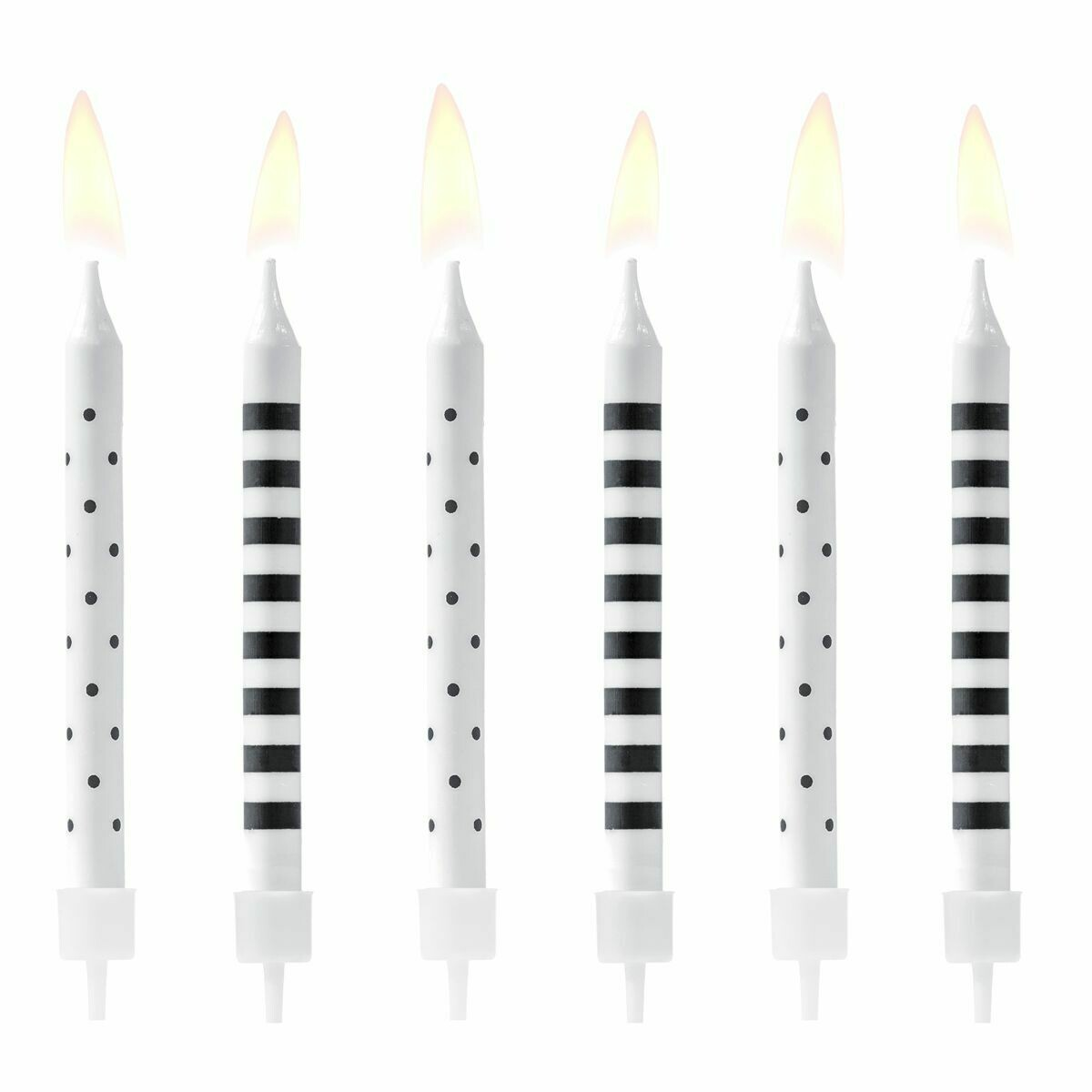 PartyDeco Birthday Candles Dots & Stripes -BLACK/WHITE 6 τεμ - Ασπρόμαυρα κεράκια