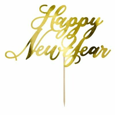 PartyDeco Cake Topper 'Happy New Year' - GOLD -Τόπερ Πρωτοχρονιάτικης Τούρτας