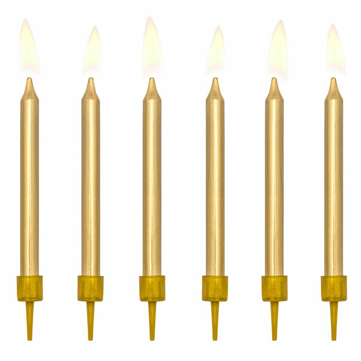 PartyDeco Birthday Candles -6εκ PLAIN GOLD 6 τεμ - Χρυσά Κεράκια 6εκ