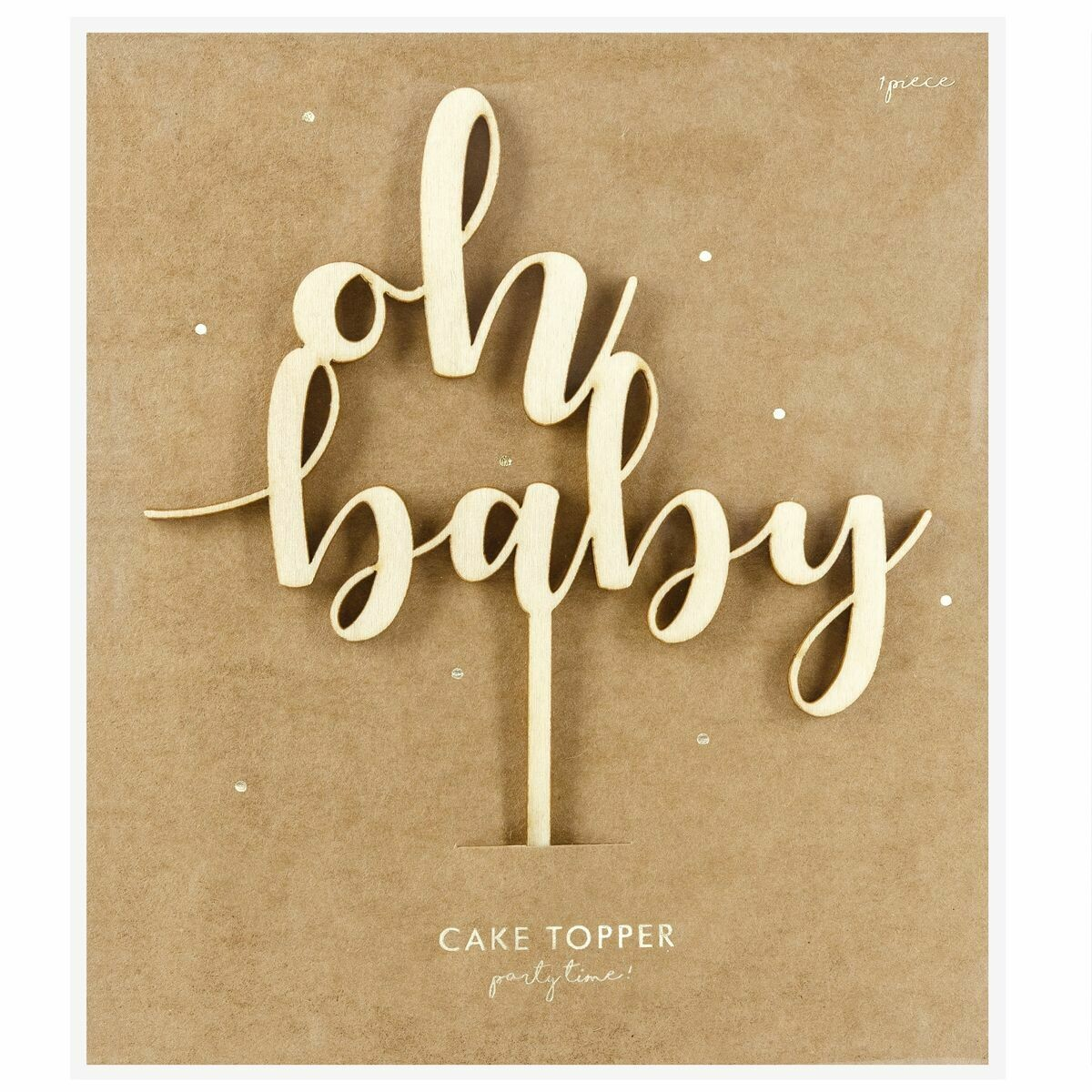 PartyDeco Cake Topper 'Oh Baby' - WOODEN -Τόπερ Τούρτας Ξύλινο 'Oh Baby'