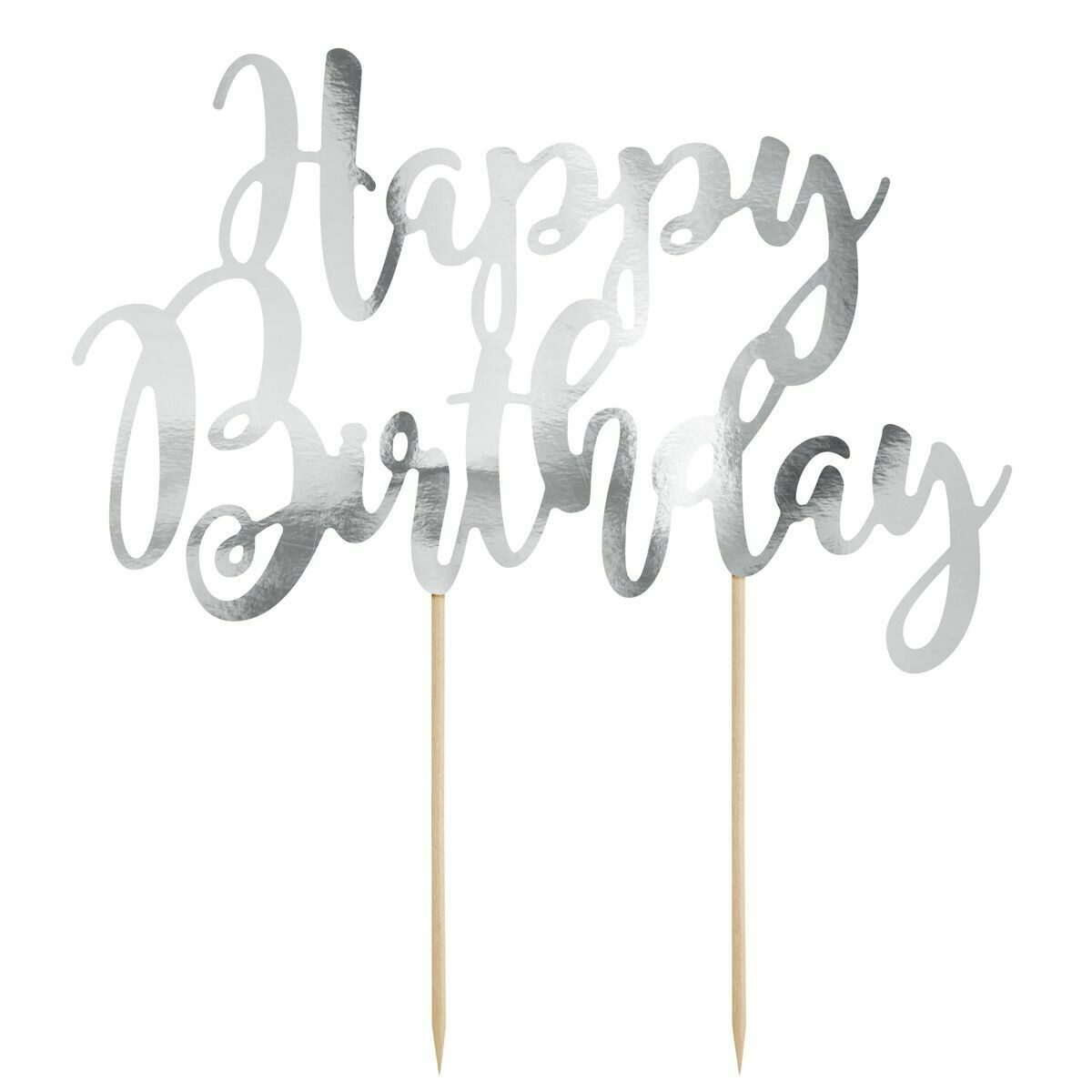 PartyDeco Cake Topper 'Happy Birthday' - SILVER -Τόπερ Τούρτας Ασημί - 'Happy Birthday'