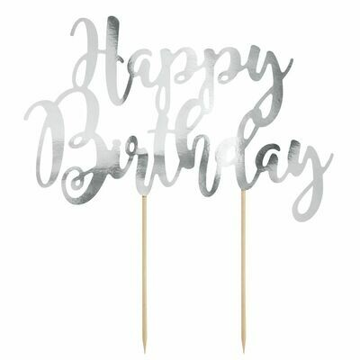PartyDeco Cake Topper 'Happy Birthday' - SILVER -Τόπερ Τούρτας Ασημί - 'Happy Birthday'