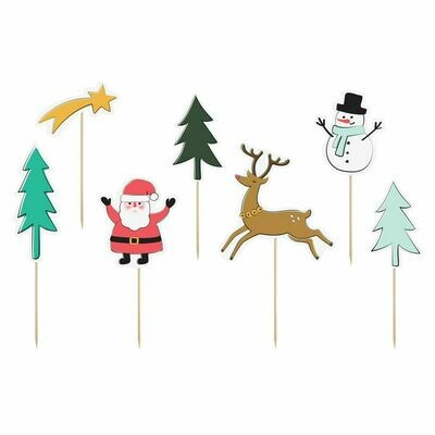 PartyDeco Cake Toppers -MERRY CHRISTMAS SET 7 τεμ. - Σετ 7τεμ Χριστουγεννιάτικα Τόπερ