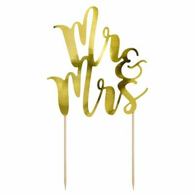 PartyDeco Cake Topper 'Mr & Mrs' - GOLD -Τόπερ Τούρτας Χρυσό 'Mr & Mrs'