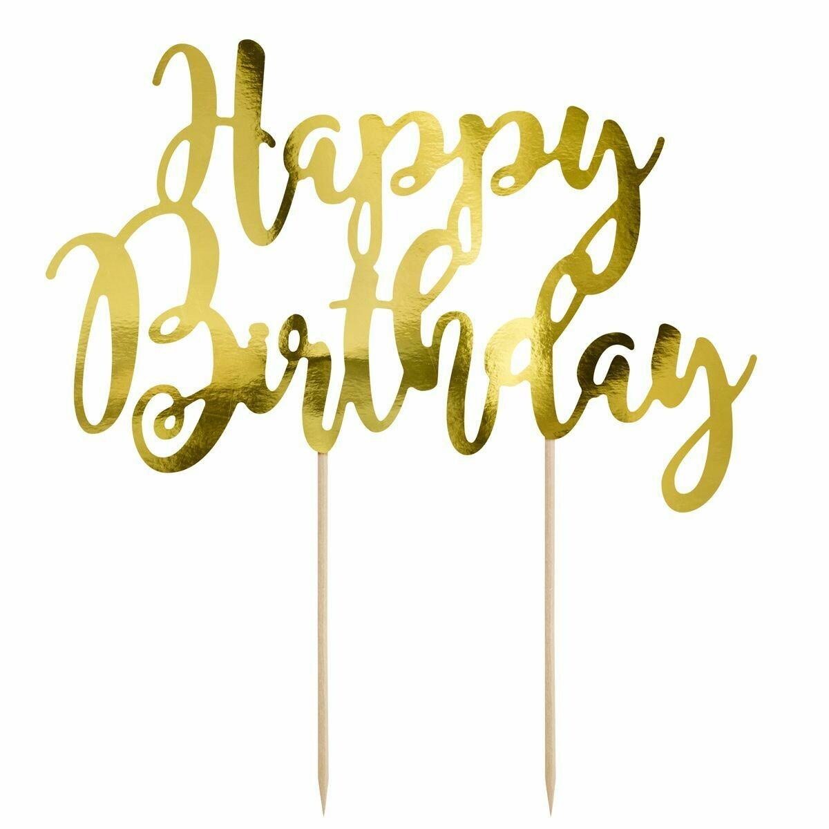 PartyDeco Cake Topper 'Happy Birthday' - GOLD -Τόπερ Τούρτας Χρυσό - 'Happy Birthday'