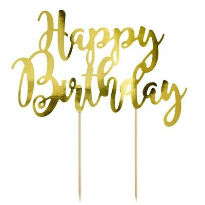 PartyDeco Cake Topper 'Happy Birthday' - GOLD -Τόπερ Τούρτας Χρυσό - 'Happy Birthday'