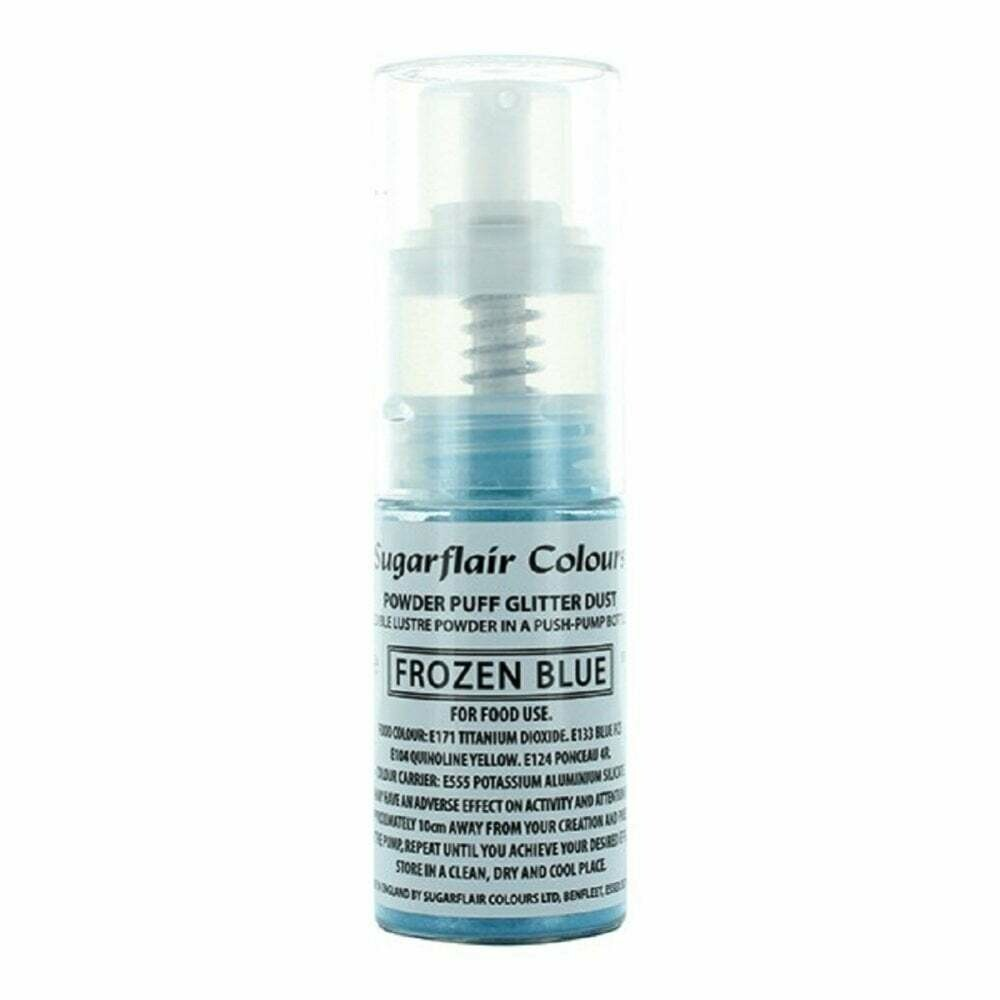 Sugarflair Powder Puff Glitter Dust Pump Spray -FROZEN BLUE 10g - Βρώσιμο Γκλίτερ σε σπρέι -Μπλε του Πάγου