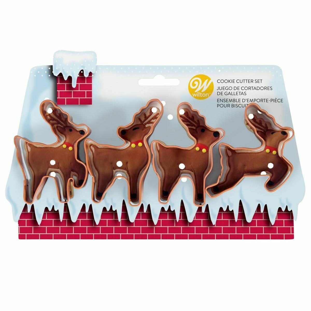 Wilton Christmas -Set of 4 Cutters -REINDEERS - Σετ 4τεμ κουπ πατ Τάρανδοι
