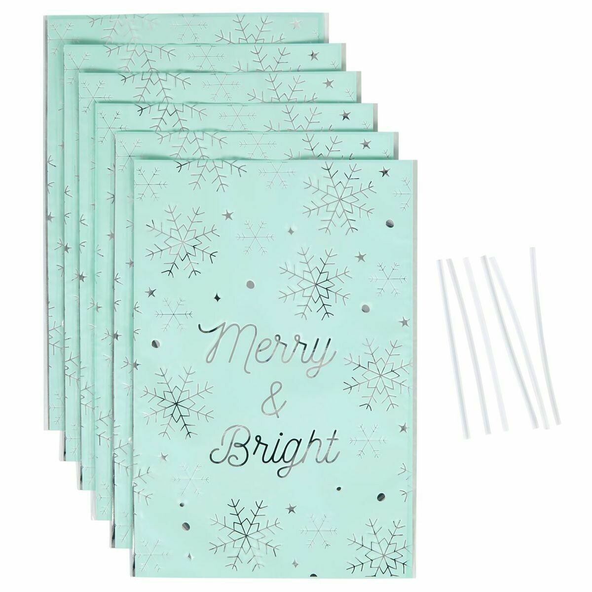 Wilton Christmas Treat Bags -MERRY & BRIGHT -Pack of 6 - 6τεμ Χριστουγεννιάτικα Σακουλάκια για γλυκά με συρματάκια